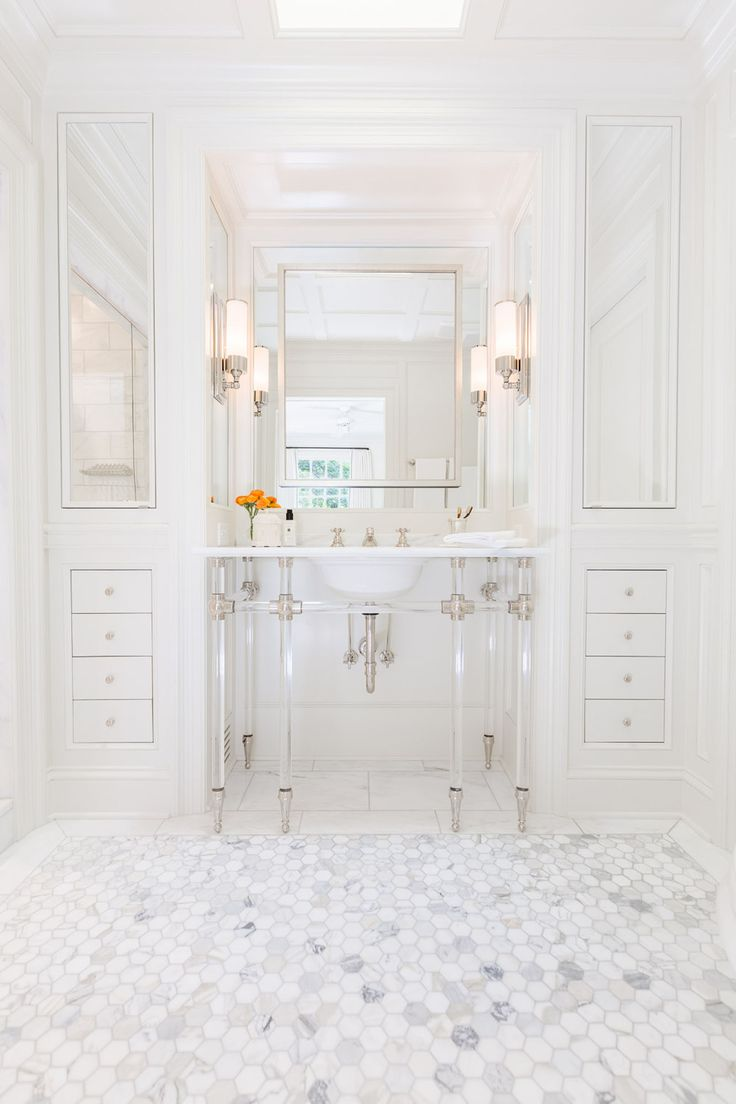 Top 6 bathroom mirrors ebay - Chic Bathroom Features A 6 Leg Nickel And Glass Washstand Topped With Marble Placed Under A Satin Nickel Mirror Flanked By Floor To Ceiling Built In
