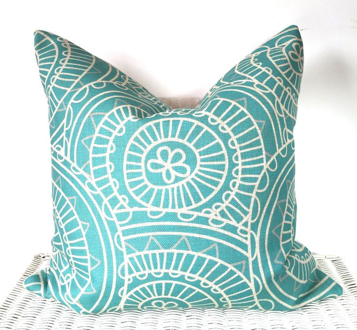 Bohemian Hippie Pillow Cover Cushion In Light Blue 18x18 By AUGUSTPLACEUK