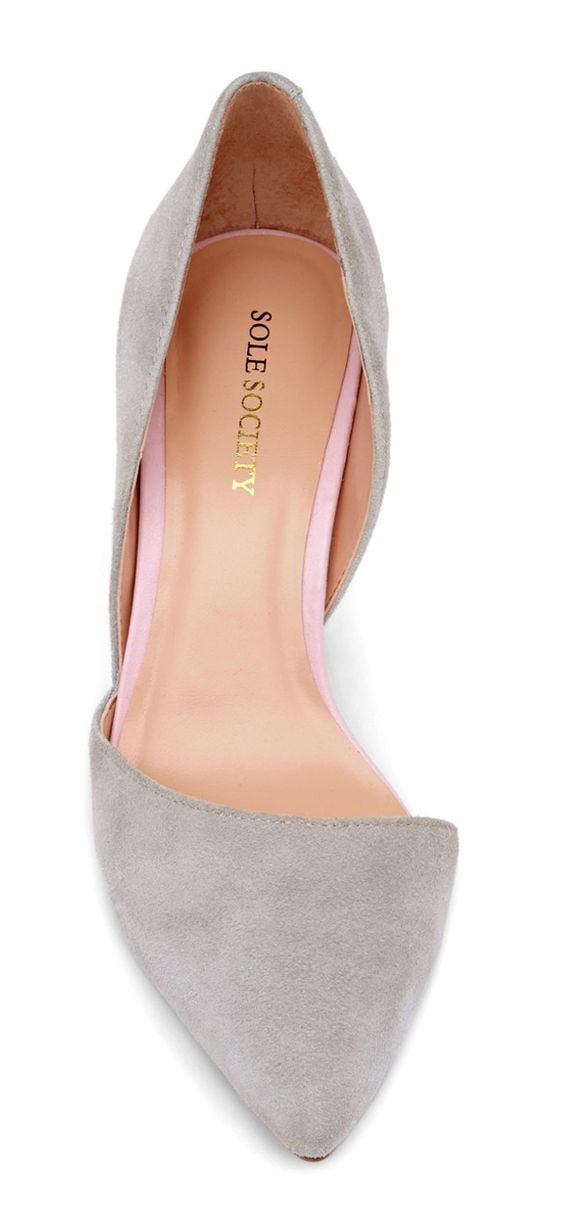 Pointy toe, gray, d'orsay shoes: