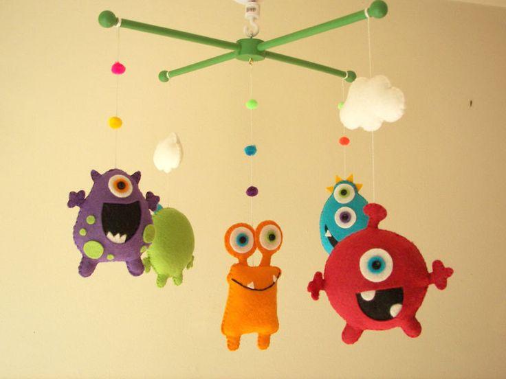 Baby crib mobile, Monster mobile, Alien mobile, felt mobile, nursery mobile Monster Friends. $95.00, via Etsy.