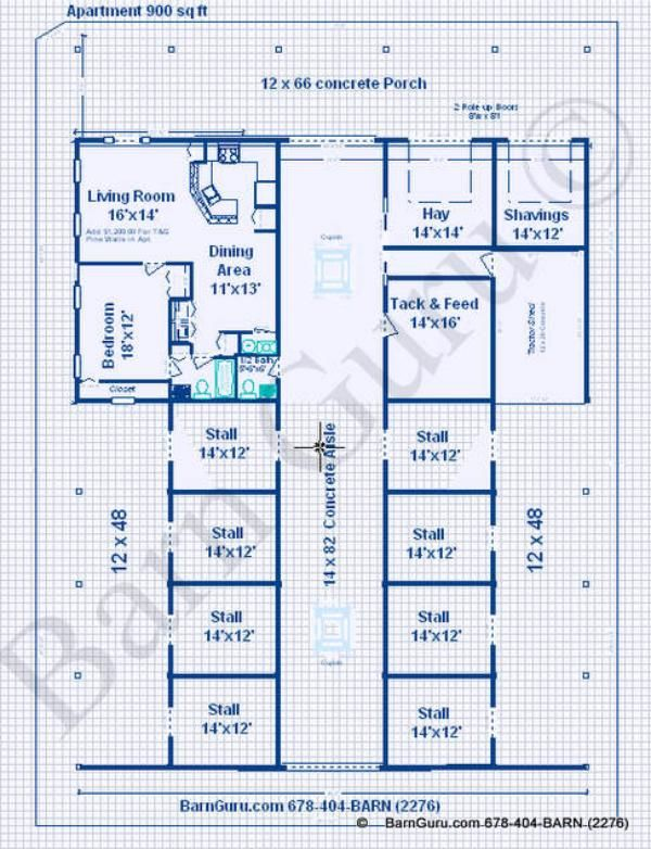 Horse Barns With Living Quarters | Stall Horse Barn With one bedroom Living Quarters Plans - Blue ...