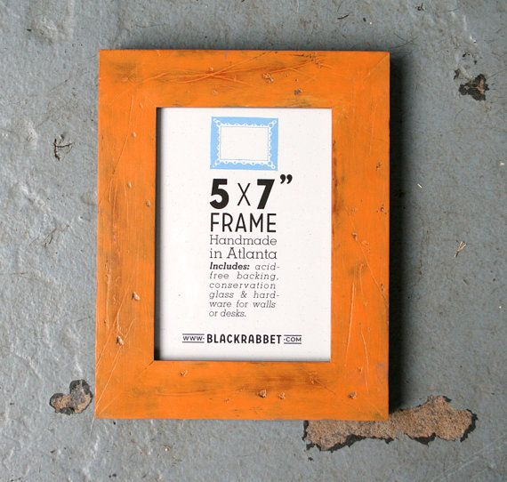 Distressed Rustic Orange Picture Frame 5 x 7 in by BlackRabbet, $30.00