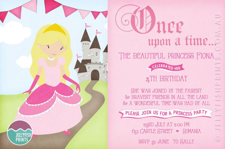 Princess Birthday Party Invitations - Our sweet printable princess invite design. Once upon a time... http://www.jellyfishprints.com.au/product/princess-birthday-party-invitations/