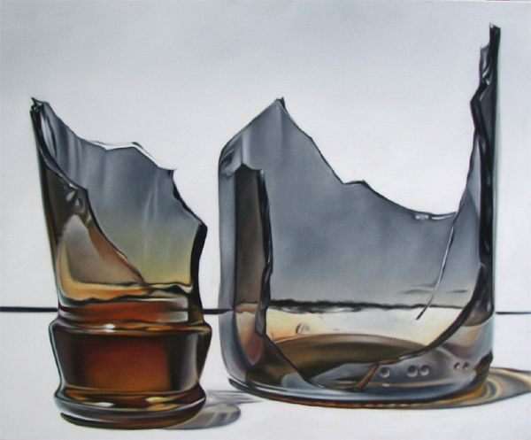 Todd Ford. Broken brown glass bottle photorealism still life