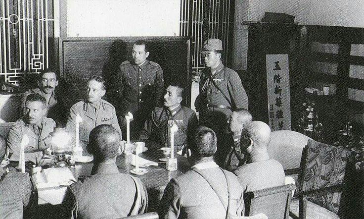 """Maj-Gen Maltby discussing the arrangement of Surrender with the Japanese, at the Peninsula Hotel, Hong Kong.  """"Black Christmas""""  25th December 1941. Hong Kong falls into the hands of the real evil empire."""