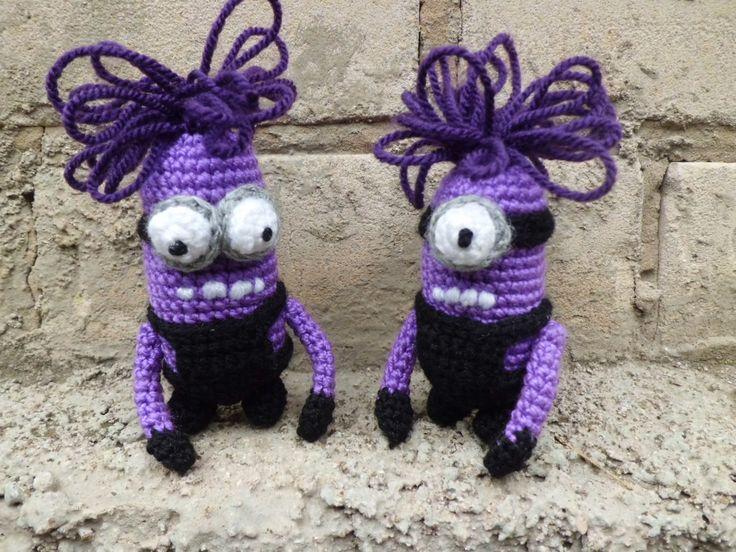 Crochet Evil Minion Purple Minion Crocheted Angry Minion Despicable me Evil violet Minion Handmade Minion Pillow Plush Toy Stuffed Animal (12.00 USD) by FunnyAmiToys