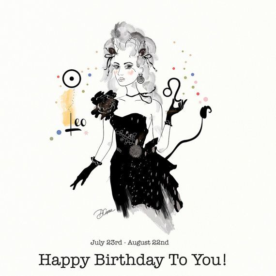 Leo Leone Birthday Card Greeting Card Zodiac by DannyCaranStudio