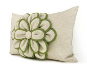 Natural beige pillow cover with a felt apple by ClassicByNature