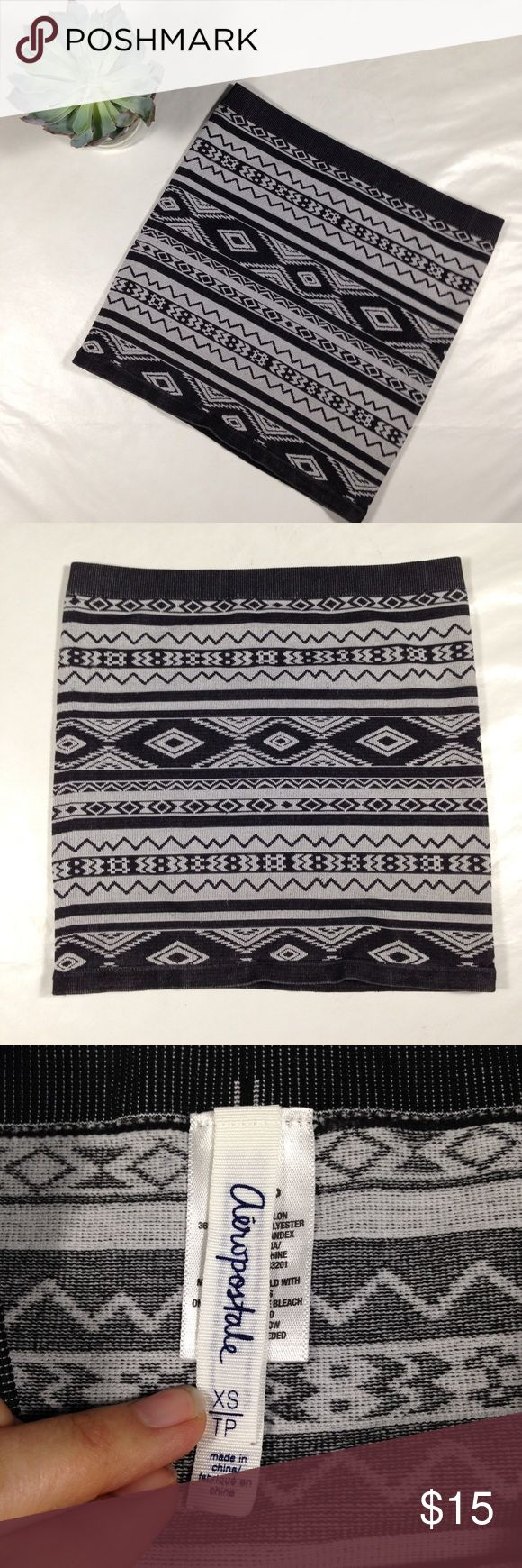 Aeropostale geometric print stretch mini skirt Grey and black mini skirt. Could even be worn as a tube top. Excellent condition! Aeropostale Skirts Mini