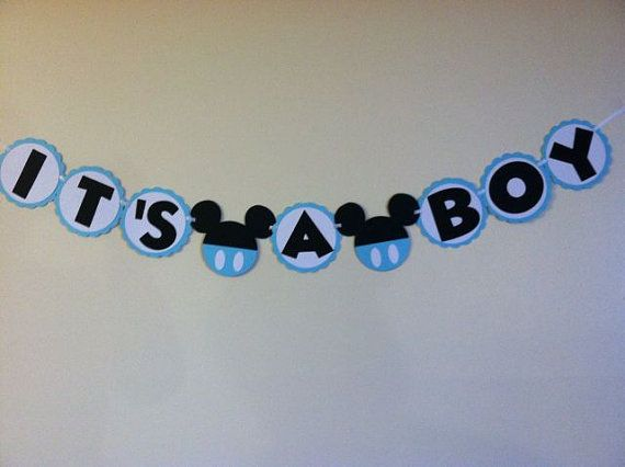 Mickey Mouse Baby Shower Banner Its A Boy Ready To By NiuDesigns, $15.00