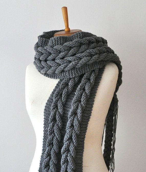 Kohle Schal - Kohle-stricken unendlich Schal, Kabel stricken riesige Schal, große Chunky Knit Schal
