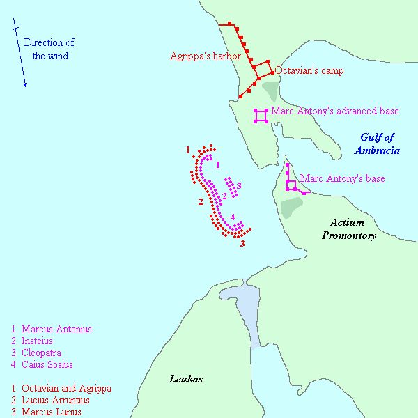 Location of base camps and ships, Actium.