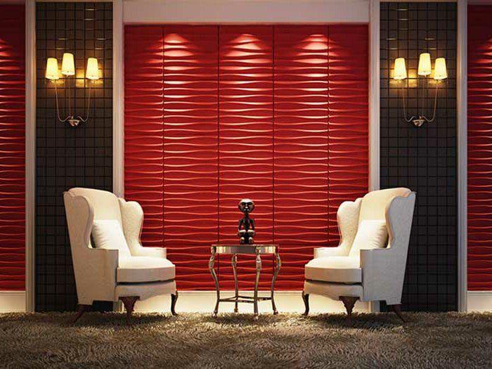 panneau-mural-3d-rouge-espace-à-touche-luxueuse