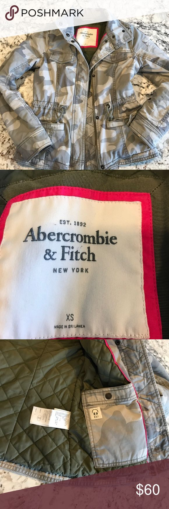 Abercrombie and fitch jacket coat xs Amy camo Quilted lining Abercrombie and fitch coat. Army green camouflage. Soft, has paint on left bottom sleeve but blends in. Look cute with skinny jeans and a t shirt. Abercrombie & Fitch Jackets & Coats Utility Jackets