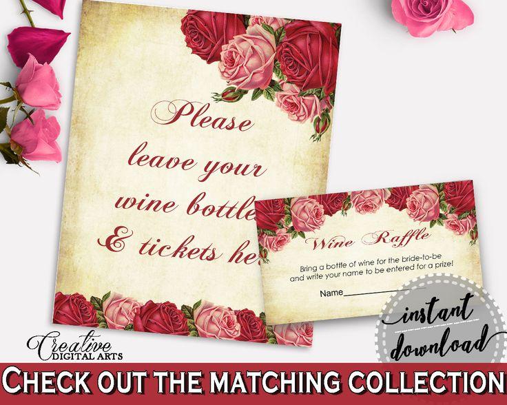 Wine Raffle Bridal Shower Wine Raffle Vintage Bridal Shower Wine Raffle Bridal Shower Vintage Wine Raffle Red Pink party organizing XBJK2 #bridalshower #bride-to-be #bridetobe