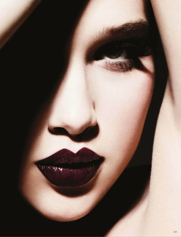 Vogue Germany Model: Anais Pouliot Photographer: Ben Hassett Makeup by: Linda Cantello Nails by: Elsa Durrens No Words Dramatic Lips Burgundy Wine Glossy Cat Eye liner