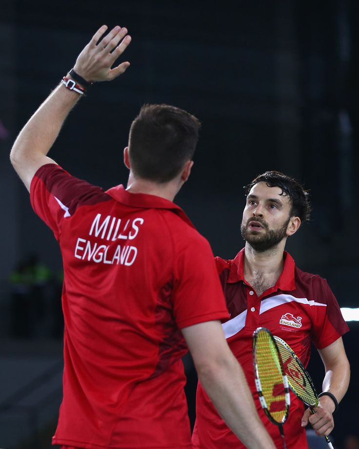 Peter Mills and Chris Langridge of England. 20th Commonwealth Games: Badminton