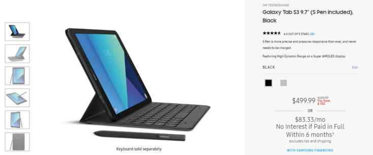 Deal: Samsung Galaxy Tab S3 available for $499.99 ($100-off) keyboard cover also on sale