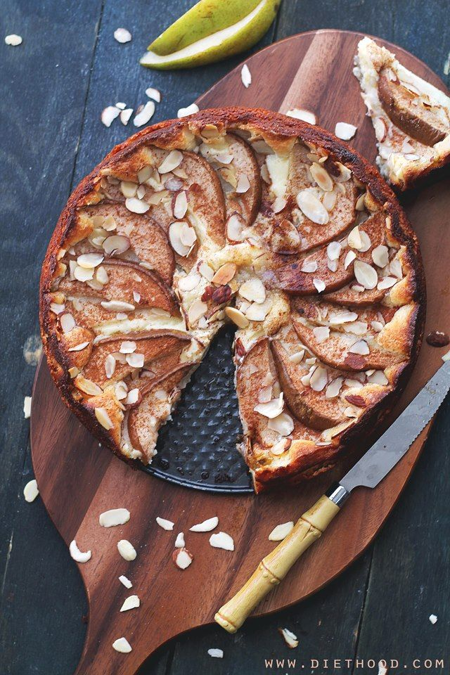 Pear Almond Cheesecake Torte | www.diethood.com | Delicious, sweet and silky Pear Almond Cheesecake Torte, prepared with a cream cheese mixture atop an almond-flour crust, and garnished with fresh pears. | #recipe #cheesecake