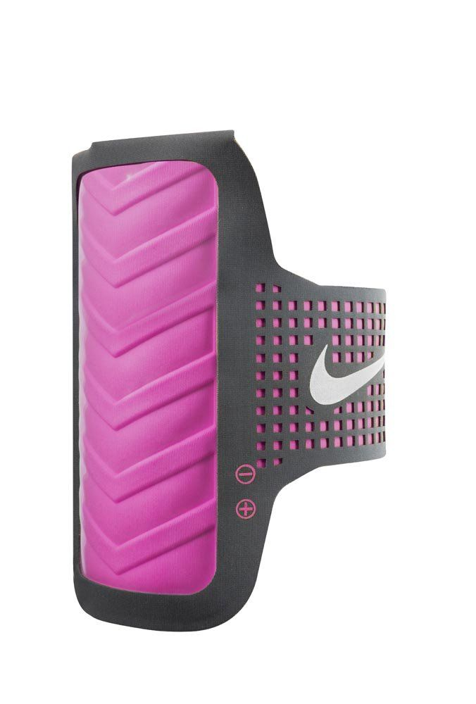 Nike Women's Distance Pink Arm Band for iPhone 6. Designed specifically for the iPhone 6. Fold over back pocket for easy entry and exit of phone. Added breathability channels increases air flow to prevent overheating of device. Clear window with touch screen compatibility with screen protection.