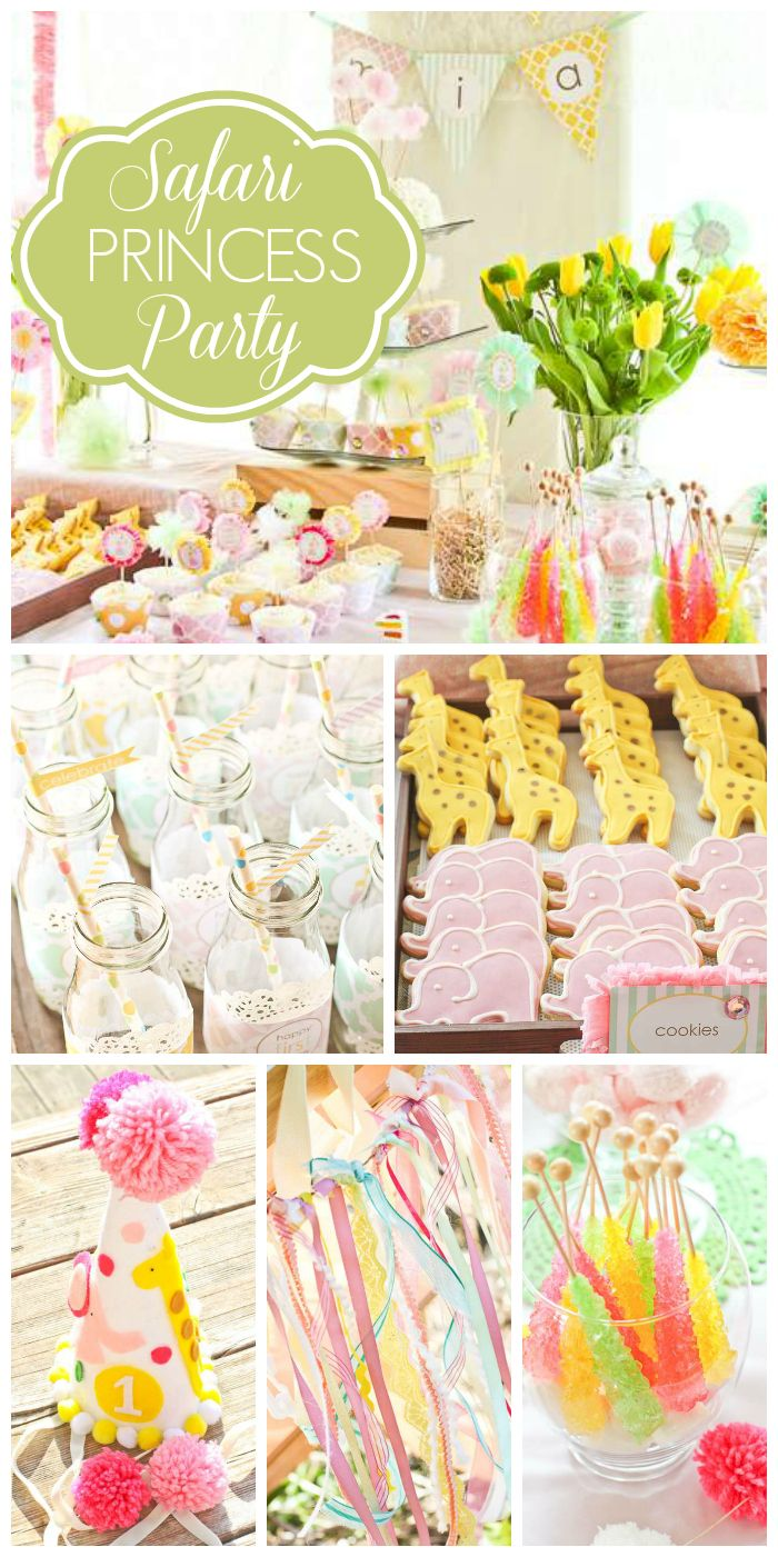 A Safari Princess girl birthday party with party hats, highchair decorations and a finger print canvas!  See more party planning ideas at CatchMyParty.com!