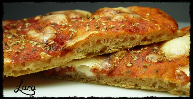 Pizza in teglia con SEMOLA RIMACINATA INTEGRALE BIO RUGGERI