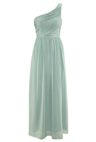 Mint one shoulder dress.