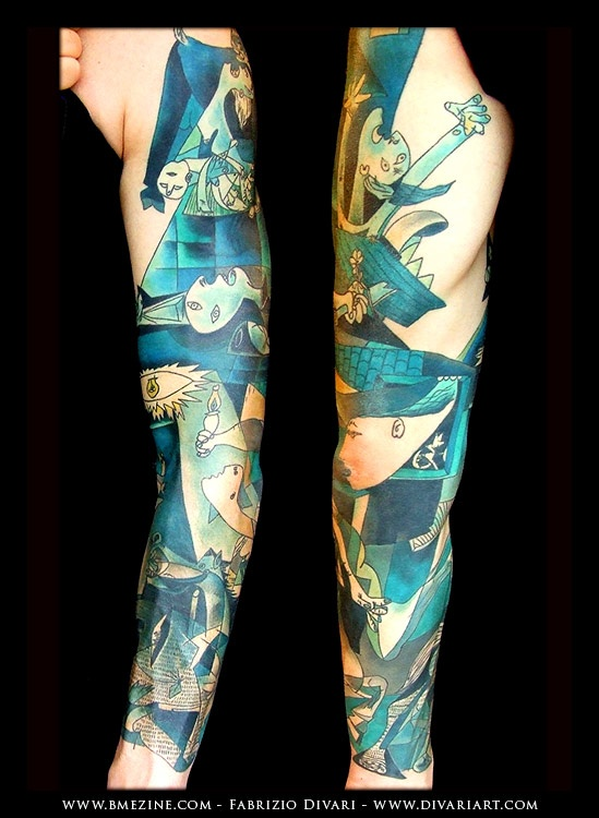 Tattoo sleeve inspired by the art of Picasso