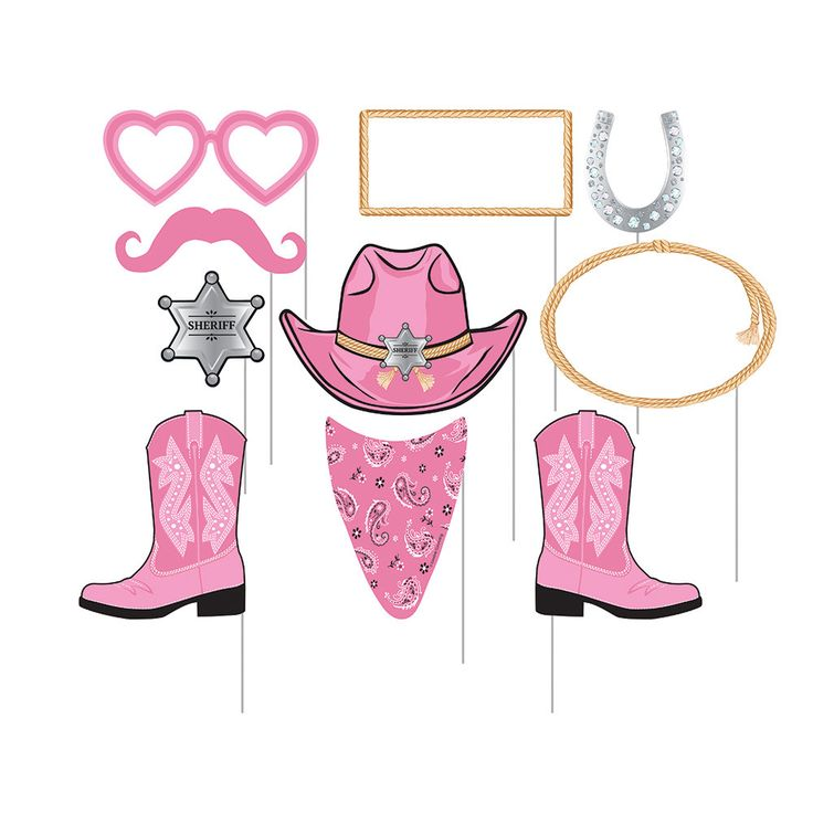 Pink Bandana Cowgirl Photo Booth Props [10pc]