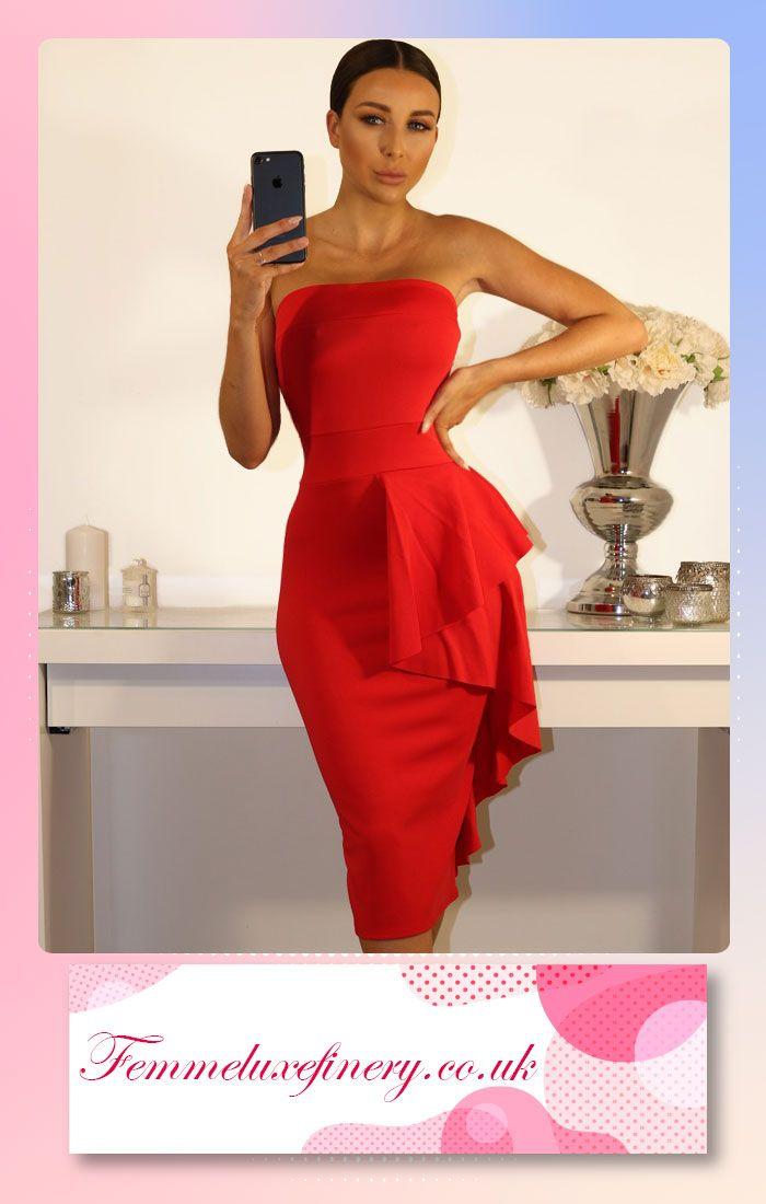 #RED #SIDE #FRILL #BANDEAU #DRESS #femmeluxe