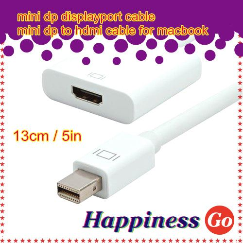 White Mini DisplayPort DP to HDMI Female TV Adapter Cable For MacBook