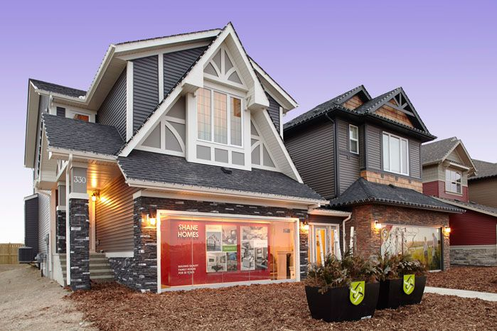 Exterior elevation of the Orion II showhome in King's Heights in Airdrie by Shane Homes.