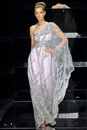Elie Saab..sari-like dress. Bet it's so much easier to put on hehe