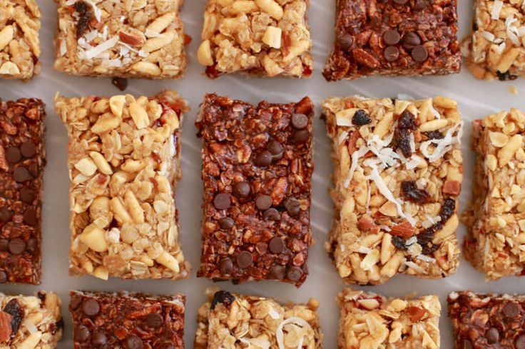 No Bake Granola Bars (Nut & Raisin, Peanut Butter & Jelly, Double Chocolate) . Full of great ingredients and perfect for snack time