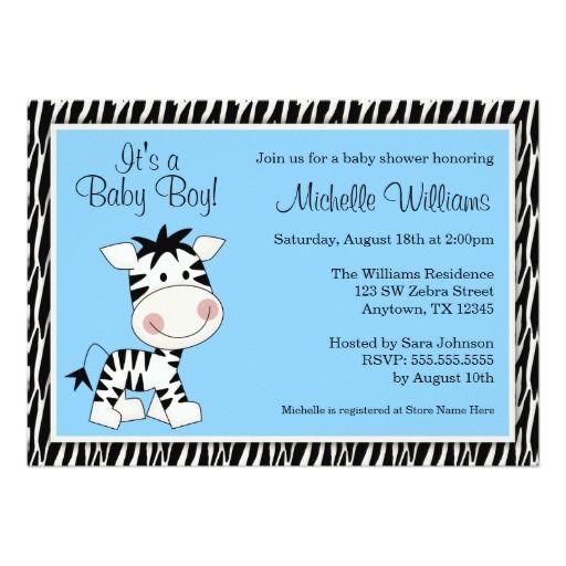 "blue and zebra print boy baby shower | Cute Blue Zebra Boy Baby Shower Invitations 5"" X 7"" Invitation Card ..."