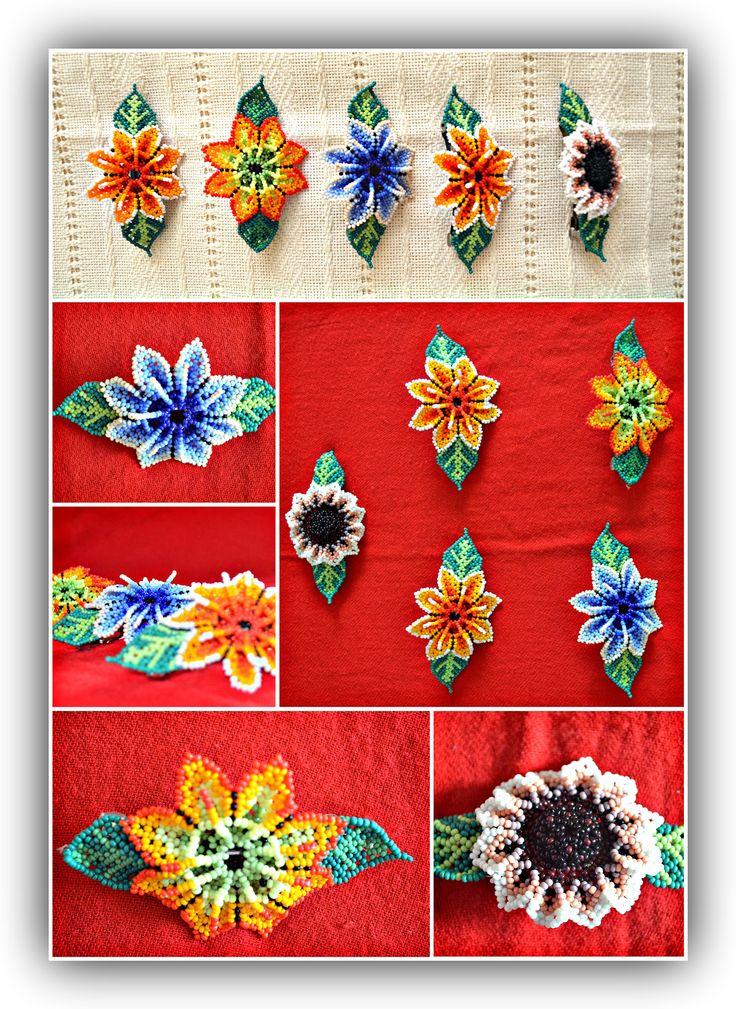Prendedor artesanal Mexicano con material en Chaquira en diversas formas y colores. Arte Huichol. $ 15.00 cada uno. Mexican handmade hair pins beads material in various shapes and colors . Huichol art . $ 15.00 each.