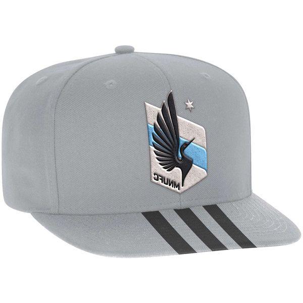 Men's Minnesota United FC adidas Gray Jersey Hook Flatbrim Snapback Adjustable Hat, Your Price: $25.99