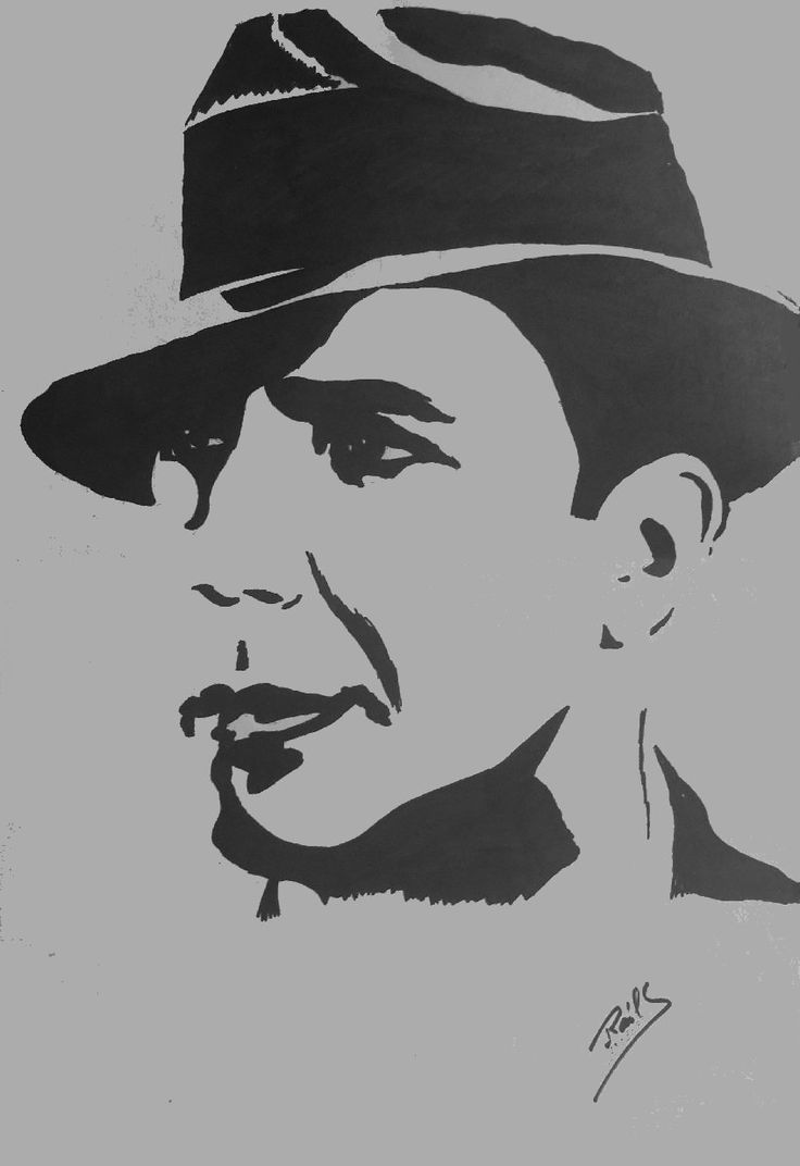 carlos gardel  dibujo en tinta china