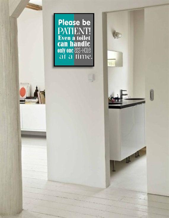 Funny Bathroom Art Sign Bathroom Wall Decor By DIGIArtPrints