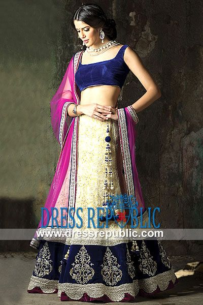 Cobalt Gold Parker - DR9107, Wedding Ghagra Choli, Bridal Ghagra Choli, Lucknowi Lehanga Choli 2013 Lehenga Choli by www.dressrepublic.com