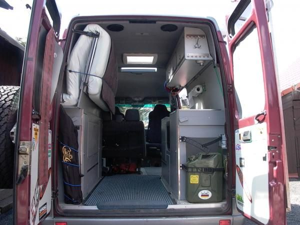 sprinter van conversion bed folded up