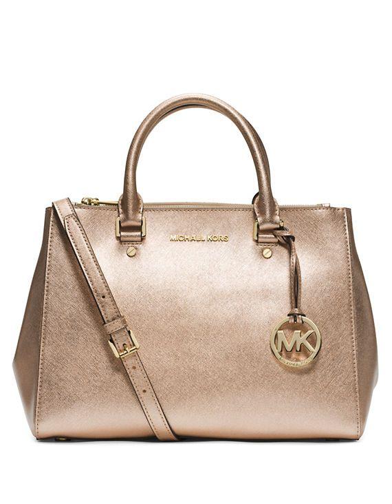 Michael Kors Sutton Metallic Leather Medium Satchel Pale Gold Fashion Love Pinterest Handbags And