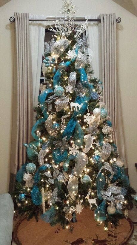 White Christmas Trees Decorated Blue