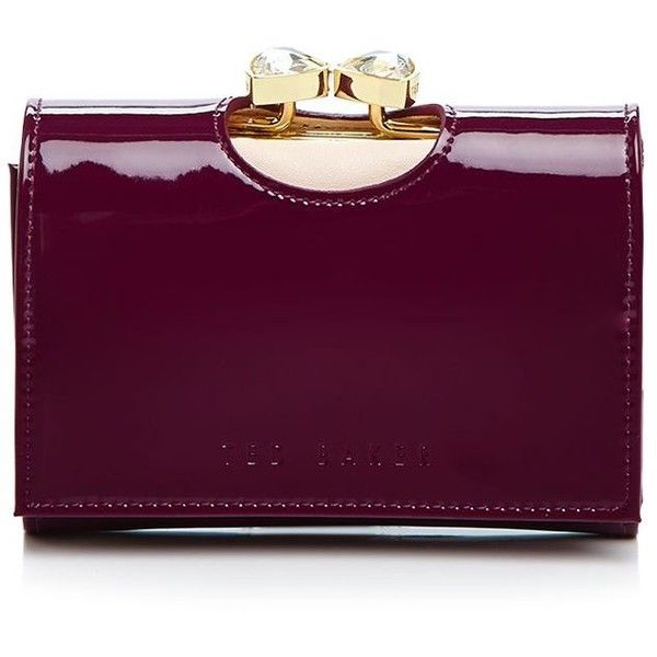 Ted Baker Peton Patent Small Wallet ($129) ❤ liked on Polyvore featuring bags, wallets, grape, carryall bag, bifold wallet, ted baker wallet, ted baker and purple wallet