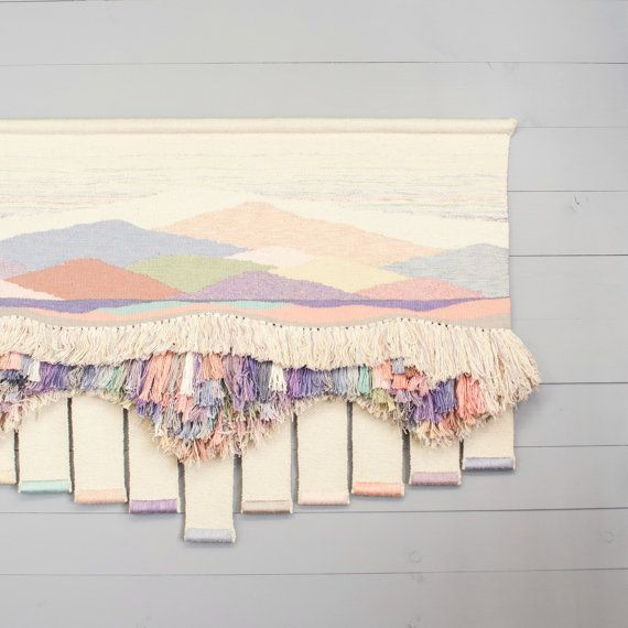 Vintage Weaving Wall Hanging - Textile Fiber Art - Bohemian Woven Wall Art - Pastel Colors                                                                                                                                                                                 More