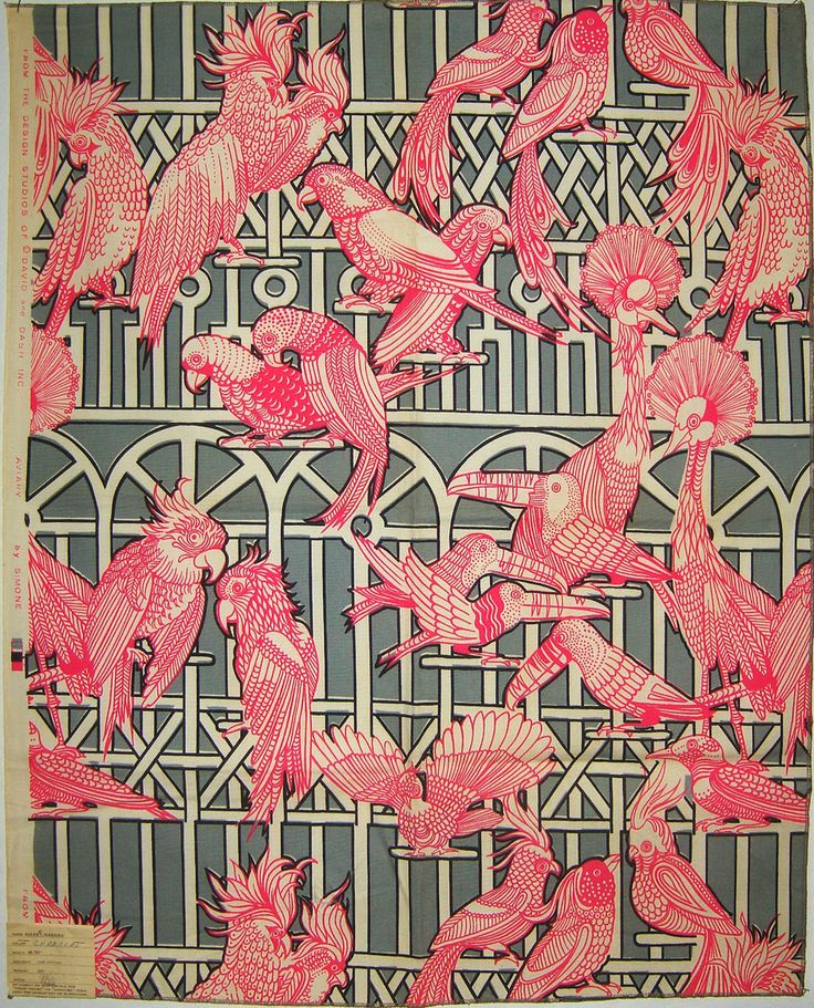 Aviary by simone. david and dash. miami, FL. 1960s, featuring a repeat print of birds: Inspiration, Art, Fabric, Design, Pink Bird, 1960, Textile