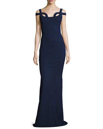 TVPBY La Petite Robe di Chiara Boni Every Long Loop-Neck Column Gown