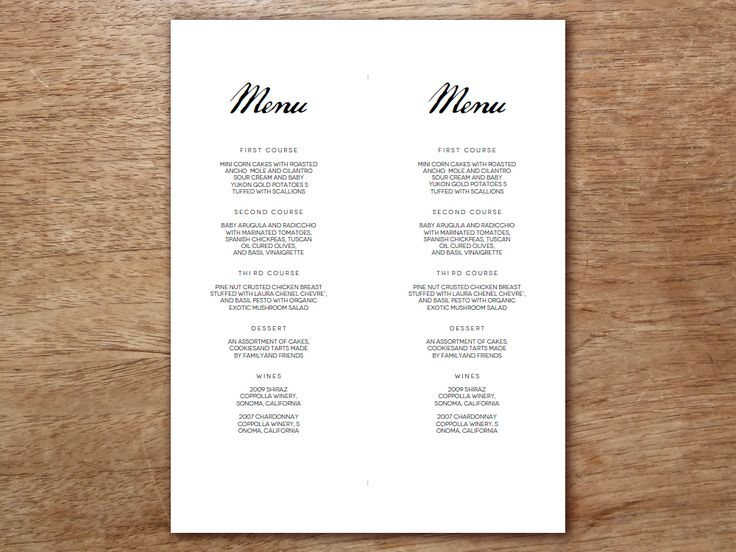make your own menu with this printable menu template the black and white calligrapy. Resume Example. Resume CV Cover Letter