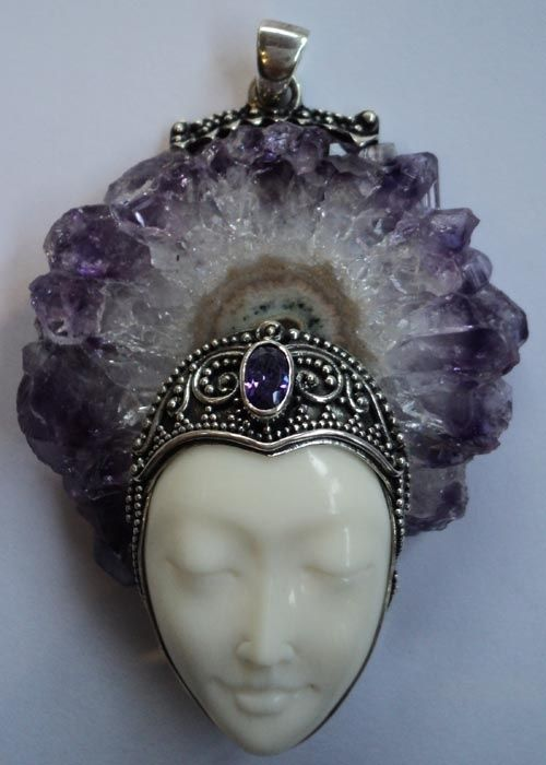 Create something similar as an actual headpiece. Feathers perhaps as behind or flowers