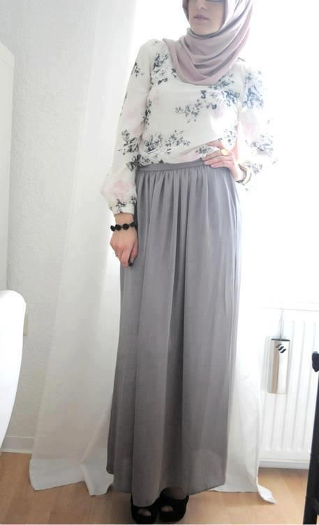 abayatrade.com muslim fashion magazine  Grey Skirt #Hijab Style